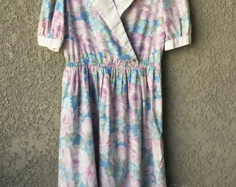 Light blue and pink floral dress