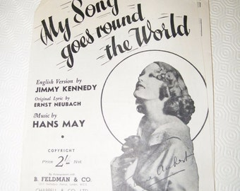 Vintage Sheet Music - My Song Goes Round The World