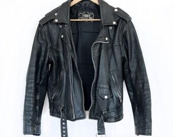 Vintage Leather Moto Jacket Classic Perfecto Style