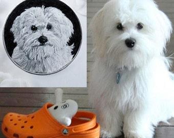 Custom Dog Necklace, Custom Pet Portrait, Maltese Dog Necklace, Embroidered Dog, Gift for Dog Lover, Custom Portrait, Embroidered Jewelry,