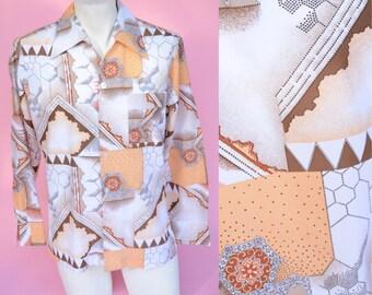 Vintage 70s, Tan, Oxford Shirt // Hexagon Pattern, 1970s Disco, Hippie, Button Up Top, Unisex Size Medium, Large