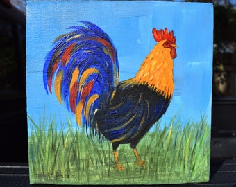Original Brightly Colored Rooster Painting on 6x6 Canvas
