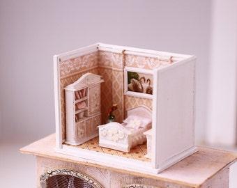 Dollhouse Miniature RoomBox - living room, Scale 1:12, Diorama