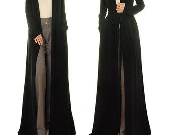 Black Maxi Cardigan Long Duster Cardigan Black Robe Long
