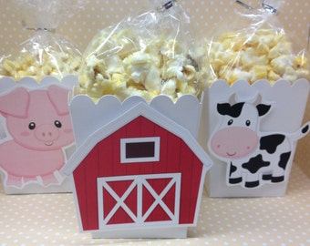 Barn on a Farm Party Popcorn or Favor Boxes - Set of 10