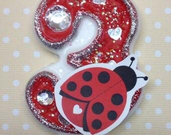Ladybug Birthday Party Number Candle