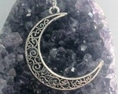 Filigree Moon Necklace Sterling Silver Alloy Plated Witch Goth Pagan Wicca