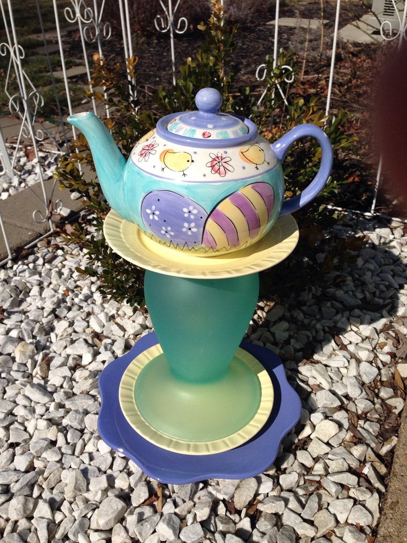 Art Décor: Glass Garden Art Yard Art Garden Decor Ceramic Garden Art