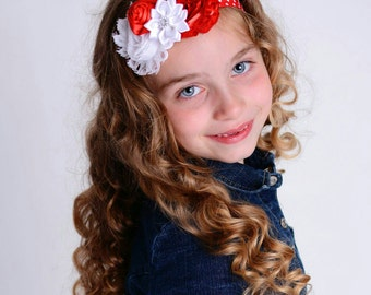 red and white polka dot headband - baby hair band - red and white headband - polka dot baby headband - hair band - girls hairband - headband