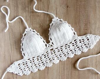White Crochet Halter Top - Crochet Festival Top - Boho Hippie Crochet Top - Crochet Bralette - Halter Crop Top - Backless Halter Neck Top