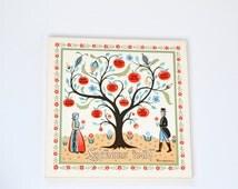 Vintage Berggren Ceramic Tile Trivet.  Swedish Folk Art, 1960's, Beautifully Illustrated, Good Luck Tree Tile with Original Sticker.
