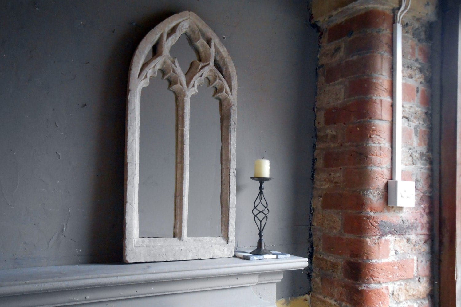 gothic church window frame mirrordouble arch ornate 32. Black Bedroom Furniture Sets. Home Design Ideas