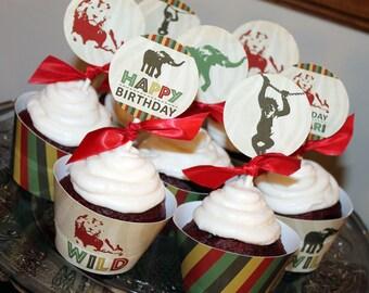 Safari Cupcake Topper/Wrapper Set, Jungle Cupcake Topper/Wrapper Set, Zoo Cupcake Topper/Wrapper Set
