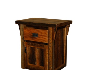 Rustic Reclaimed Barn Wood - 1 Drawer / 1 Door Night Stand / End Table / Side Table - Model# WD339 - Amish Made in USA -  Free Shipping!