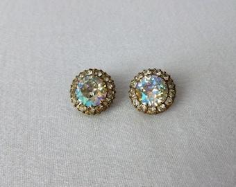 Vintage Weiss Aurora Borealis Earrings - Weiss Clip On Earrings - Vintage Weiss Rhinestone Earrings