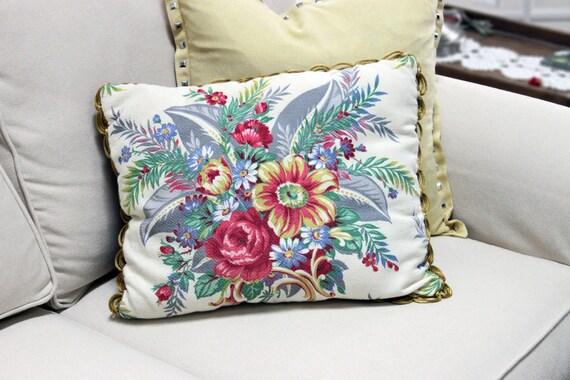 Handmade Shabby Chic Pillows : Handmade Vintage Barkcloth Pillow Stuffed Shabby Chic