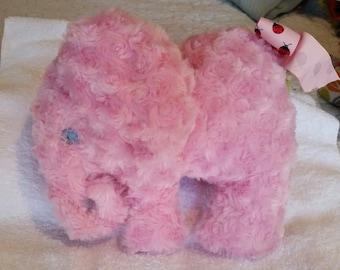 Soft curly pink plush elephant handmade for baby. embroidery eyes,ladybug ribbon, braided yarn tail