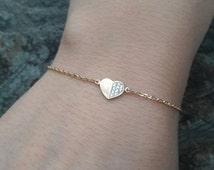 Pave Bracelet - Pave Heart Bracelet - Rose Gold Bracelet - Yellow Gold Plated -Cute Bracelet -FREE SHIPPING !!!
