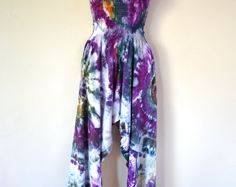 """Ice Dyed Tie Dyed Harem Pants/Jumpsuit """"Rosie"""" Design"""