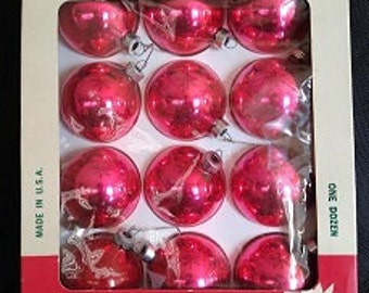 Pink Vintage Christmas Ball Ornaments