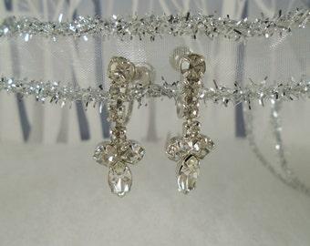Vintage Dangle Screw Back Earrings In Silver Tone