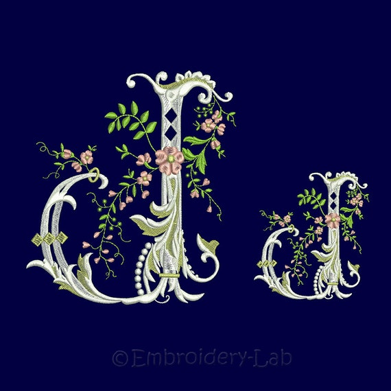Shop Floral Monograms At Littlebrownnest Etsy Com: Floral Monogram Initial J Machine Embroidery Designs. Two