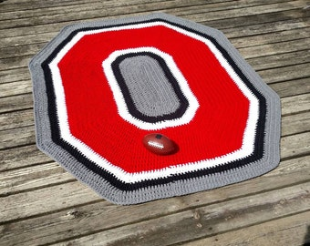 Ohio State Buckeyes Rug Osu Crochet Rug Crochet Block O