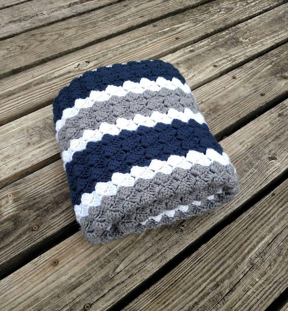 Dallas Cowboys Crochet Blue Grey And White Blanket Multiple