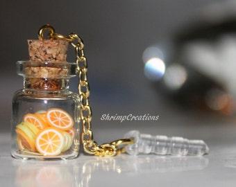 CITRUS Bottle PHONE CHARM - Phone dust plug charm. bottle charm. glass vial. vial charm. glass bottle. dust plug. phone charm. Accessories