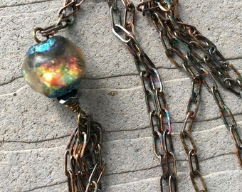 Boho Basha Bead with Oxidized Sterling Chain and Tassel by SeeJanesBeads