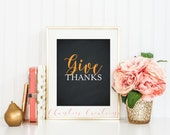 Give Thanks Printable Wall Art. Chalkboard Thanksgiving Sign. Happy Fall Autumn Printable Wall Art. Seasonal Home Decor. Instant Download