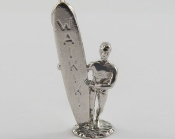 Surfer Holding Waikiki Surfboard Sterling Silver Vintage Charm For Bracelet
