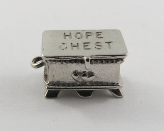 Hope Chest Mechanical Sterling Silver Vintage Charm For Bracelet