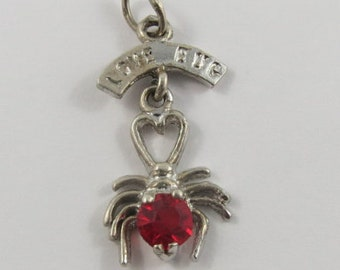 Love Bug With Red Stone Mechanical Sterling Silver Vintage Charm For Bracelet
