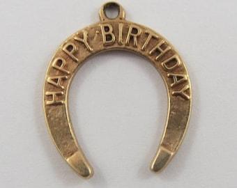 Happy Birthday Horseshoe 10K Gold Vintage Charm For Bracelet