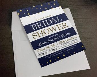 Customized Striped Bridal Shower Invitation - Digital File