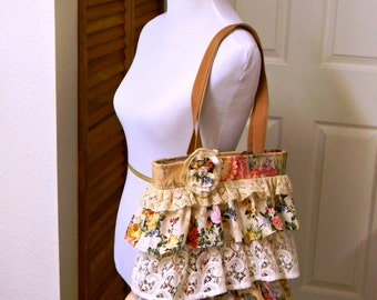 Shabby Chic Handbag with Rose Flower Brooch Ruffled Boho Tote Bag Cream Peach Summer Romantic Bag Original Design OOAK