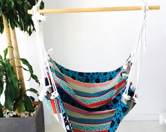 "Hammock chair, stamped fabric - Hanging chair, of minimalist design - Hanging hammock chair - HAMMOCK (40"" - 100cm)"