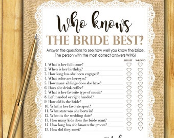 Bridal Shower Game Download - Who Knows the Bride Best - BURLAP and LACE - Instant Printable Digital Download - diy Bridal Shower Printables