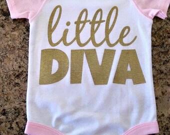 Little Diva Pink Raglan Bodysuit for Baby Girl