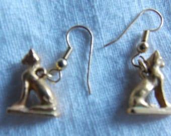 Handmade Goldtone cat earrings