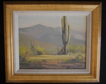 Original Oil Painting of Saguaro, Southwestern Desert by Barbara McKee, Artist Signed and Framed, Southwestern Mountains, Sonoran Desert
