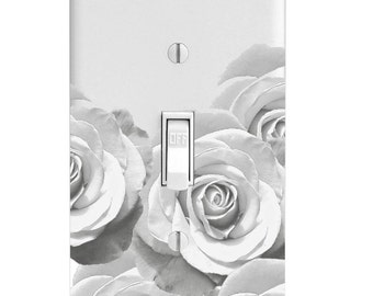 Black and White Roses Printed Light Switch Cover, Single Light switch plate, Double Switch Plate, Outlet Plate, Rocker Cover, Bedroom Decor