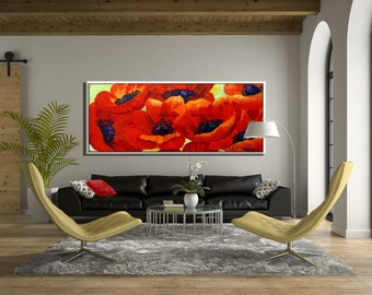 Large Wall Painting, Red Flower, Large Wall Art, Large Painting, Canvas Art, Wall Art Canvas, Large Art Canvas, Large Canvas Oil Painting