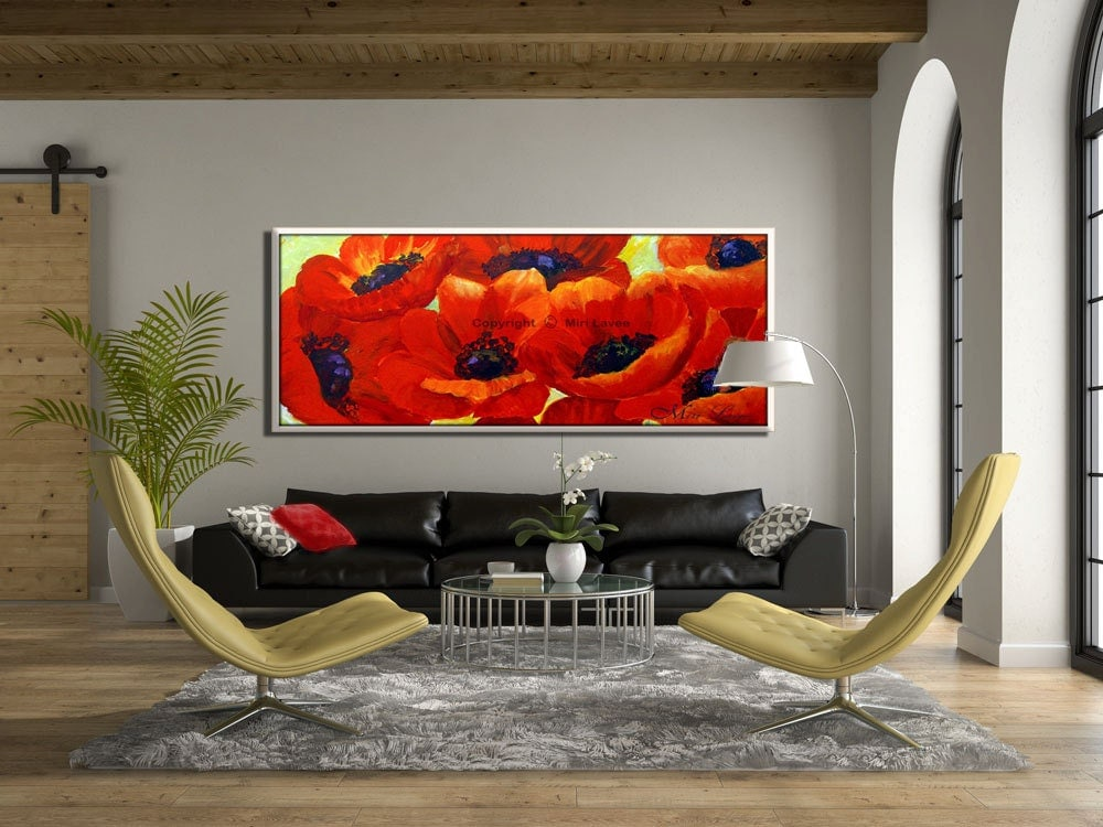 large wall painting red flower large wall art large. Black Bedroom Furniture Sets. Home Design Ideas