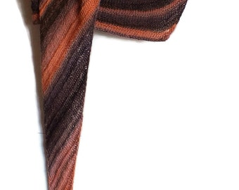Orange and Brown Hand Knitted Asymmetric Scarf