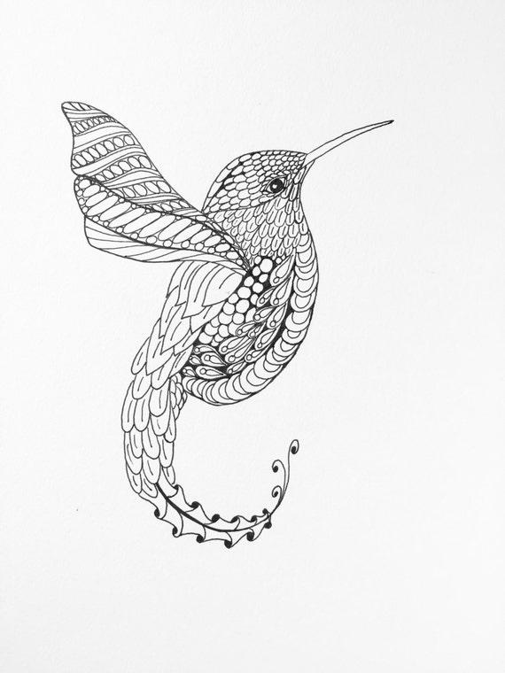 Zentangle Colibri Sticker Hummingbird Dessin Illustration