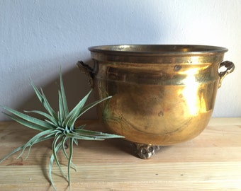 Solid Brass Footed Bowl with Handles, Indoor Planter Pot, Vintage Solid Brass Planter, Handcrafted in India