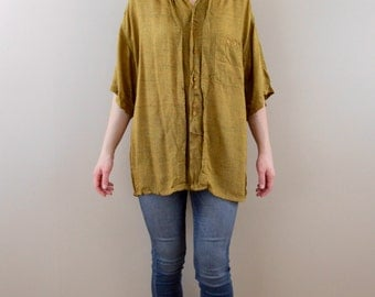 Vintage 1980s Mens Mustard Double Button Down, Size Medium to Large - Mens Vintage Button Down Shirt
