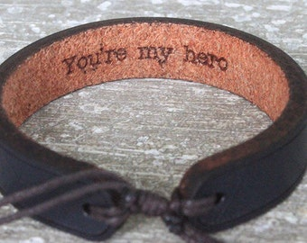 Men's leather bracelet-hidden message bracelet-Personalized leather bracelet custom leather bracelet- anniversary gift- gift for men- custom